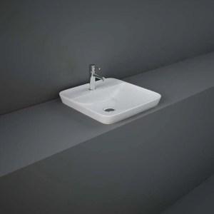 RAK Variant Square Drop-In Wash Basin 42cm 1 Tap Hole