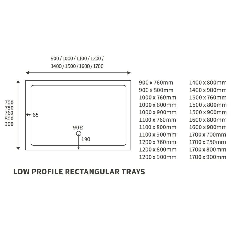 RefleXion Low Profile 1000x700mm Rectanglular Tray & Waste