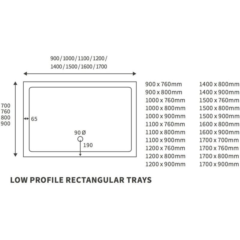 RefleXion 40mm Low Profile 1300x800mm Rectangular Tray & Waste