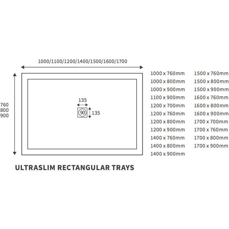 RefleXion 25mm Ultra-Slim 1700mm x 700mm Rectangular Tray & Waste