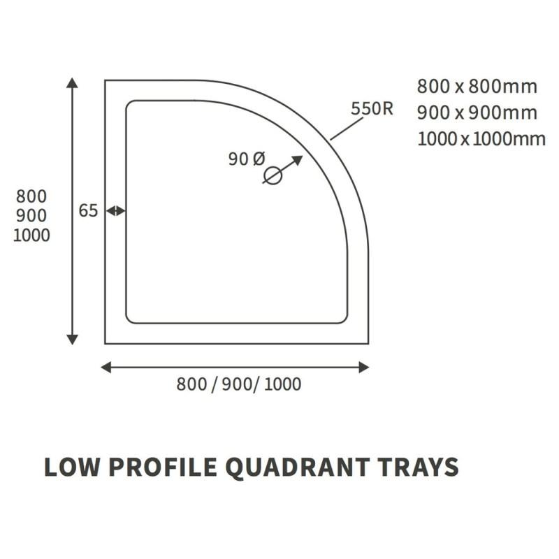 RefleXion 40mm Low Profile 900x900mm Quadrant Tray & Waste
