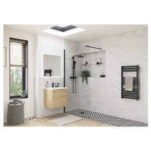 Reflexion Iconix Black Profile Wetroom Panel 1000mm