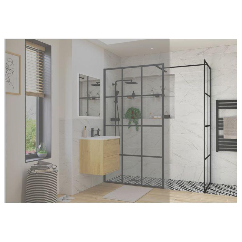 Reflexion Iconix Black Framed Wetroom Side Panel 800mm