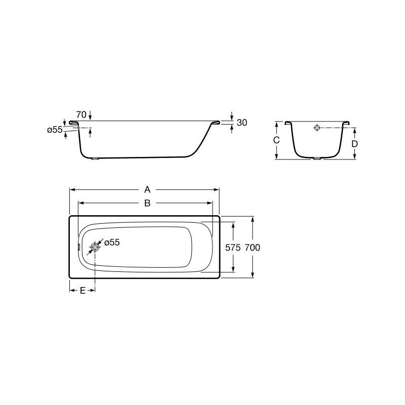 Roca Contesa Steel Bath 1700x700mm No Taphole No Grips