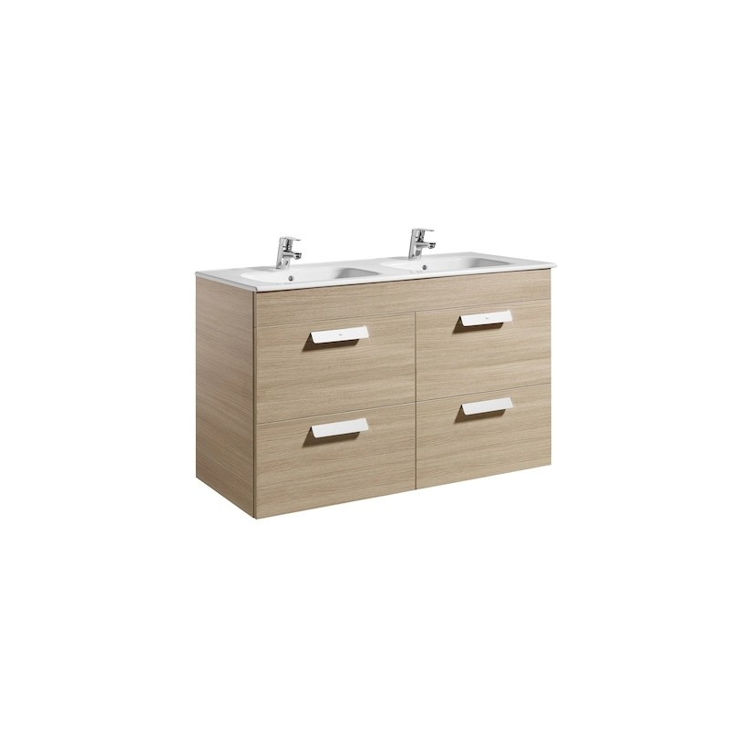 Roca Debba 1200mm Base Unit with 4 Drawers & Square Double Basin Textured Oak