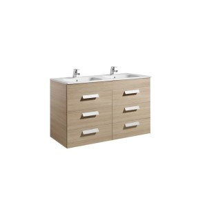 Roca Debba 1200mm Base Unit with 6 Drawers & Square Double Basin Textured Oak