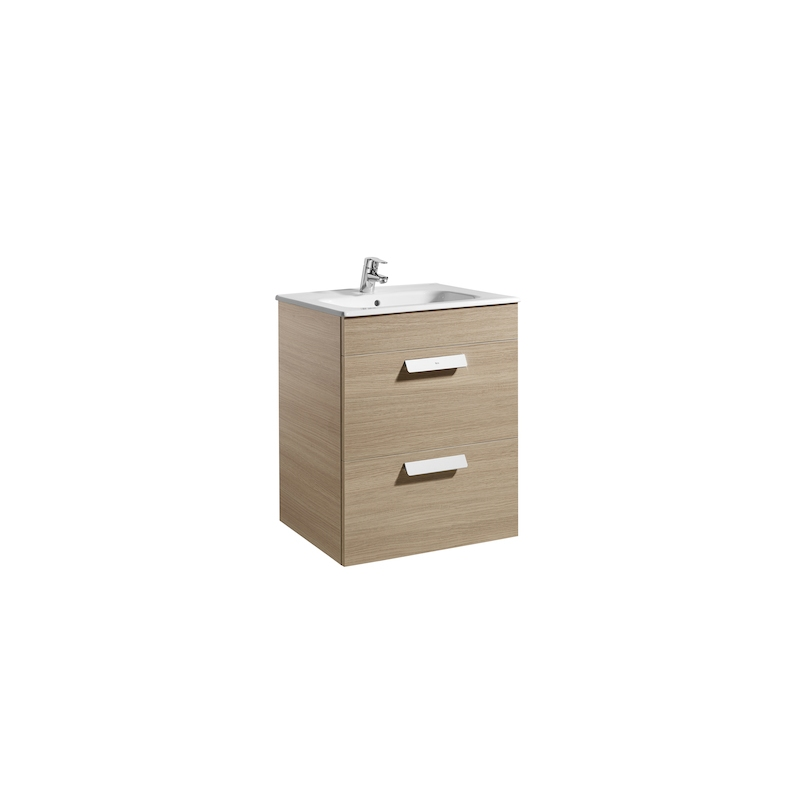 Roca Debba 600mm Base Unit with 2 Drawers & Square Basin Textured Oak