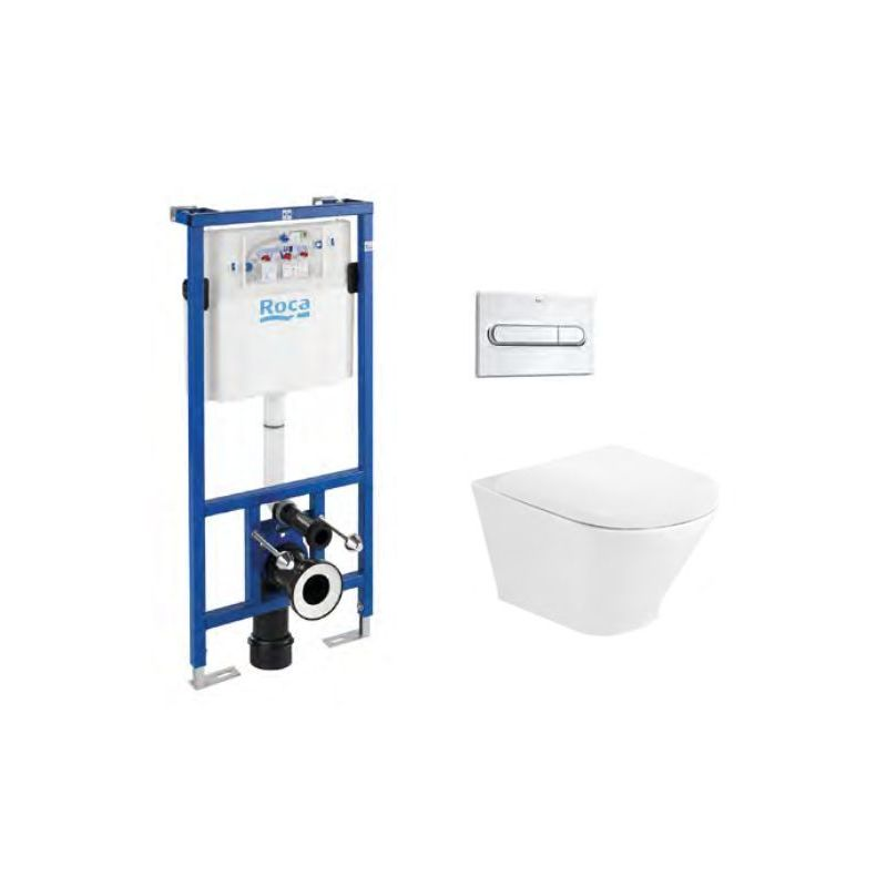Roca The Gap Round Rimless Wall-Hung WC & Frame Bundle