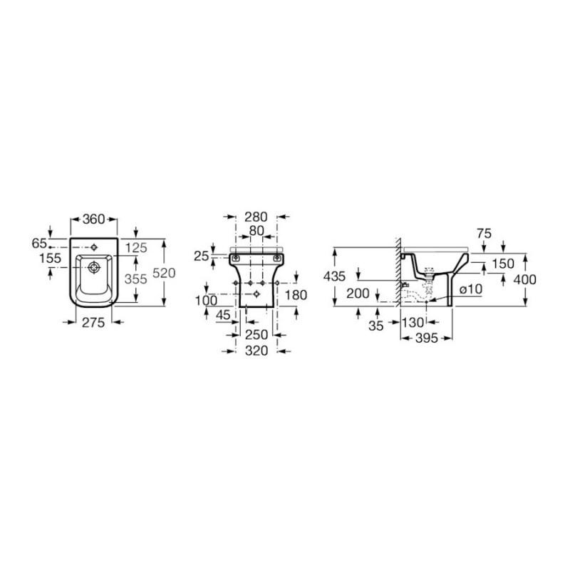 Roca Dama-N Compact Floor-Standing Bidet Back-To-Wall 1 Taphole
