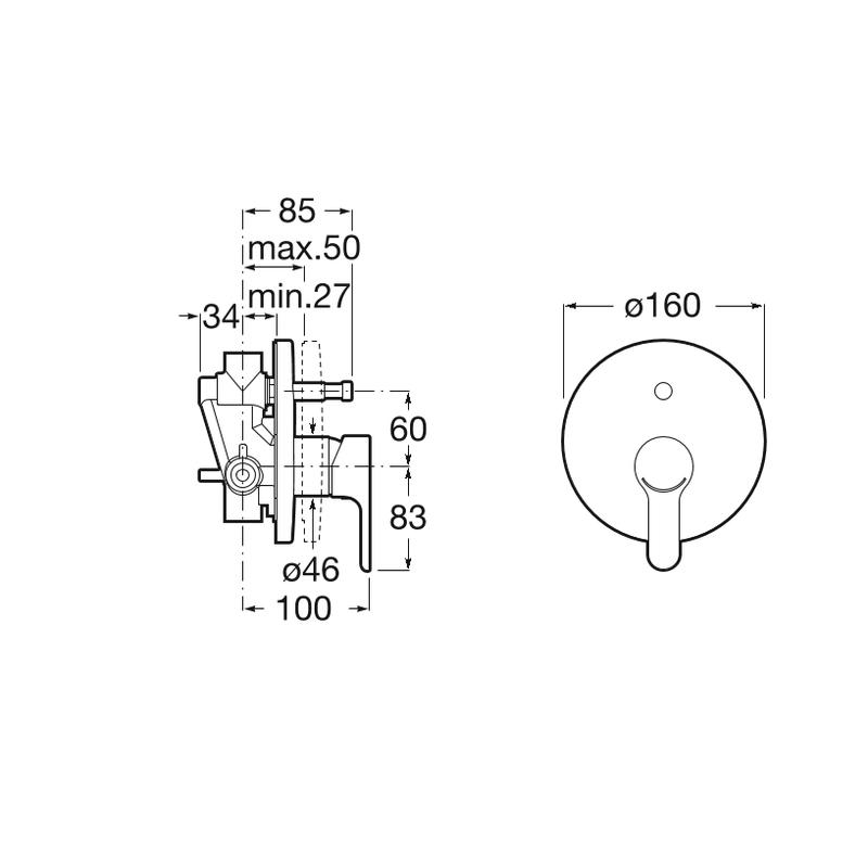 Roca L20 Built-In Bath-Shower Mixer 2 Outlets