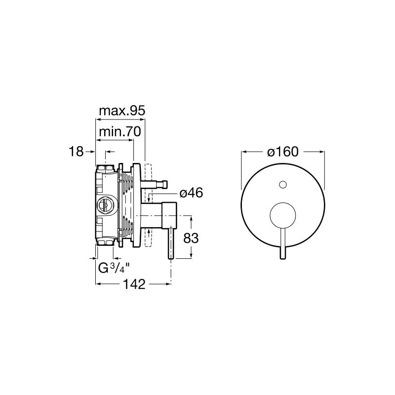 Roca Lanta Built In Bath-Shower Mixer (RocaBox Compatible)