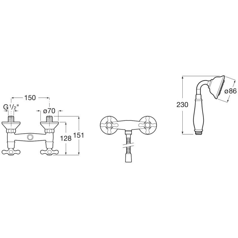 Roca Carmen Wall-Mounted Shower Mixer