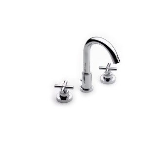 Roca Loft Deck-Mounted 3-Hole Basin Mixer with Pop-Up Waste