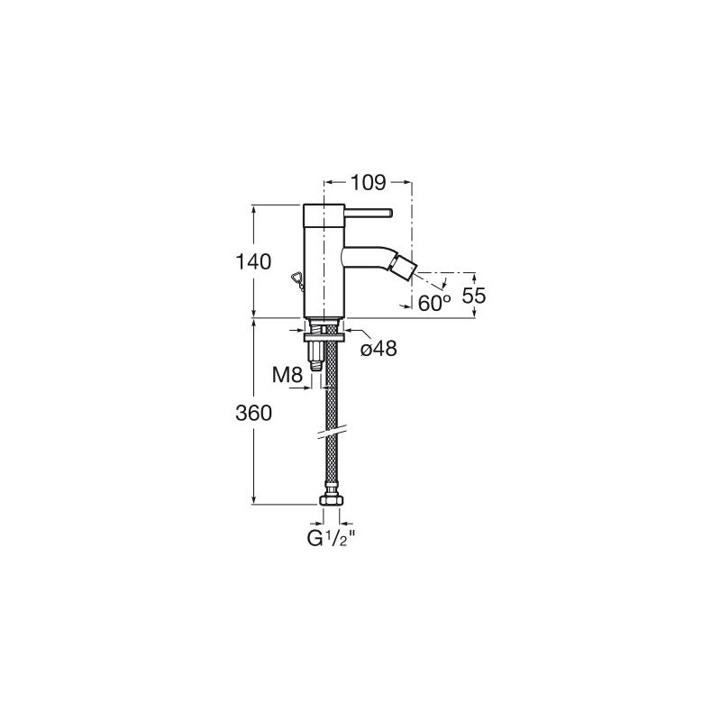 Roca Lanta Bidet Mixer with Chain Connector