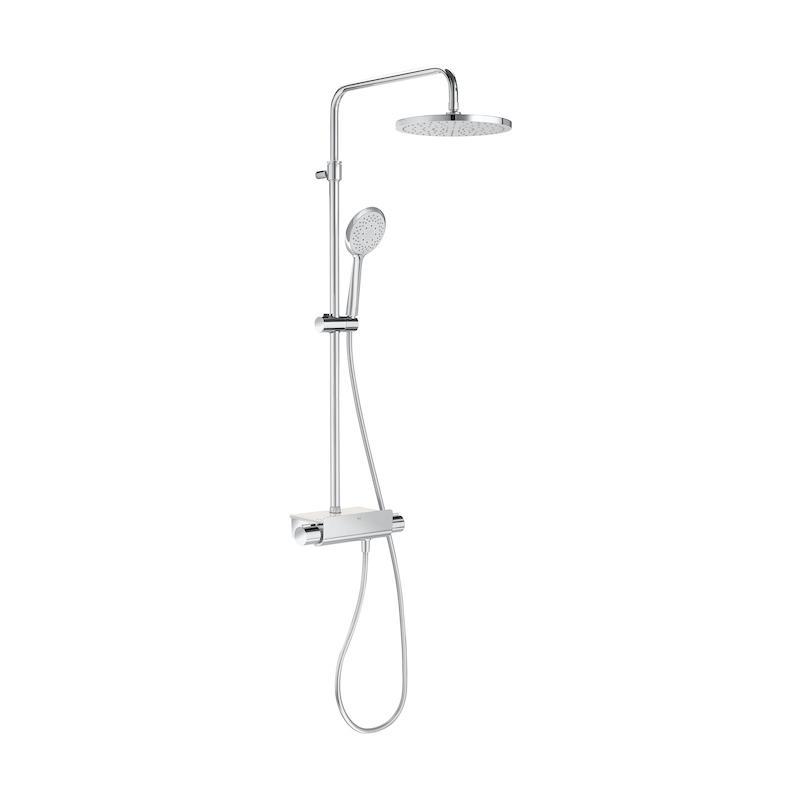 Roca Deck-T Round Head Shower Column with Shelf