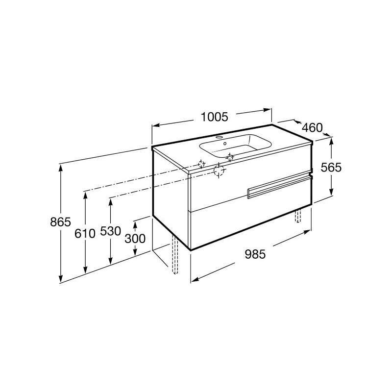 Roca Victoria-N Unik 1000mm 2 Drawer Unit & Basin Wenge