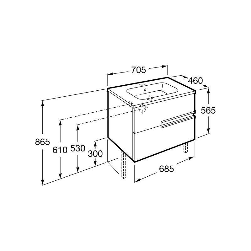 Roca Victoria-N Unik 700mm 2 Drawer Unit & Basin Wenge