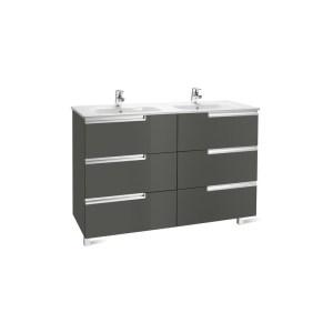 Roca Victoria-N Unik 1200mm 3 Drawer Unit & Double Basin Grey