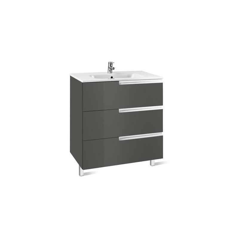 Roca Victoria-N Unik 800mm 3 Drawer Unit & Basin Gloss Grey
