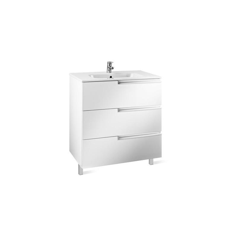 Roca Victoria-N Unik 800mm 3 Drawer Unit & Basin Gloss White