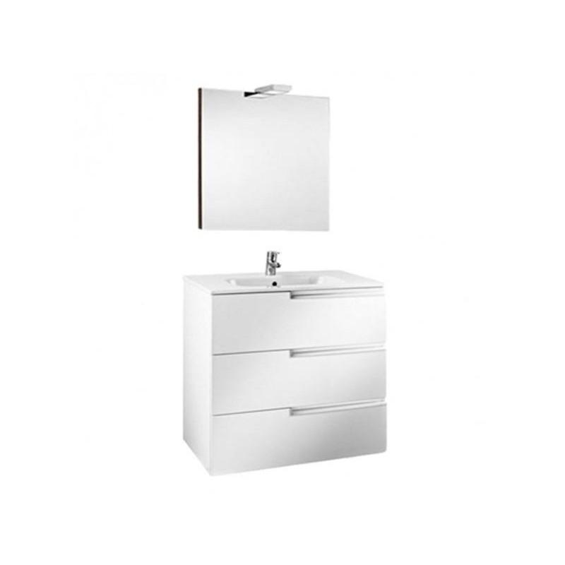 Roca Victoria-N Pack 800mm 3 Drawer Unit, Light & Mirror White
