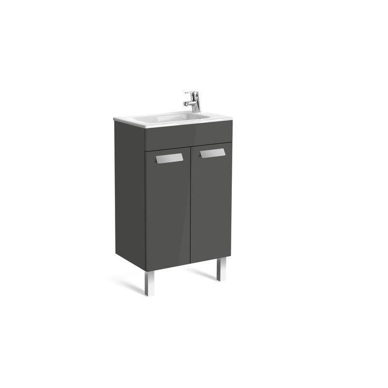 Roca Debba Compact Unik 500mm 2 Door Unit & Basin Gloss Grey