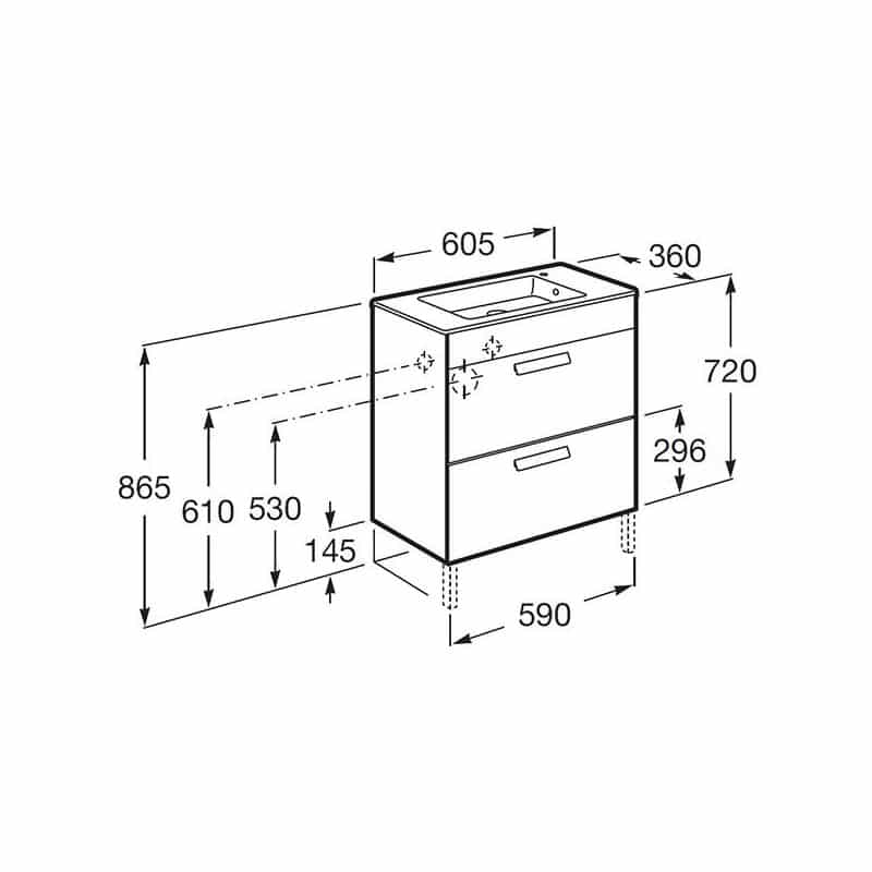 Roca Debba Compact Unik 600mm 2 Drawer Base Unit & Basin Oak