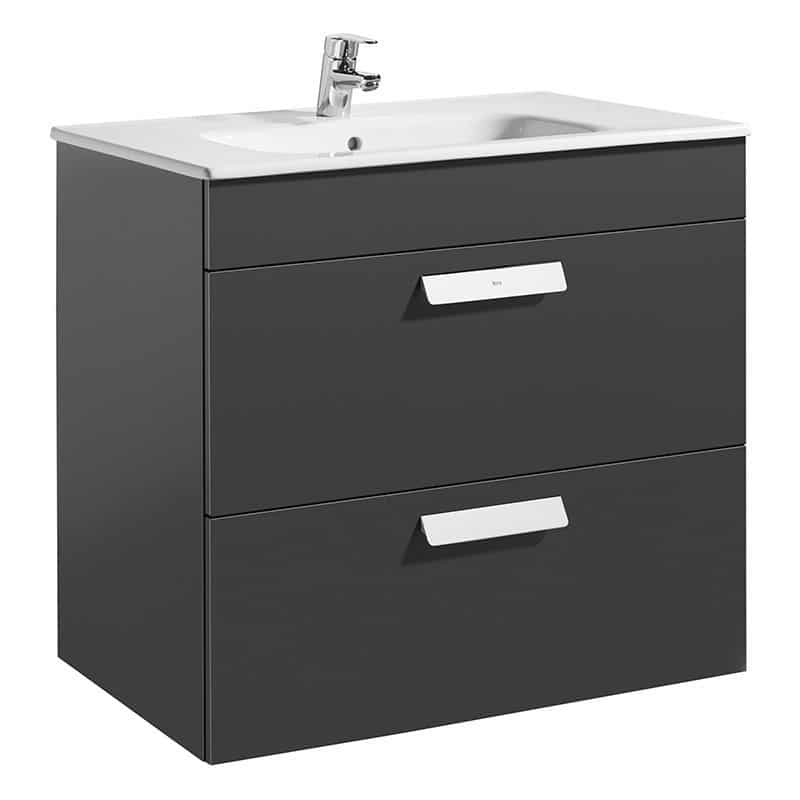 Roca Debba Wall Hung 2 Drawer Basin Unit 80cm Anthracite Grey
