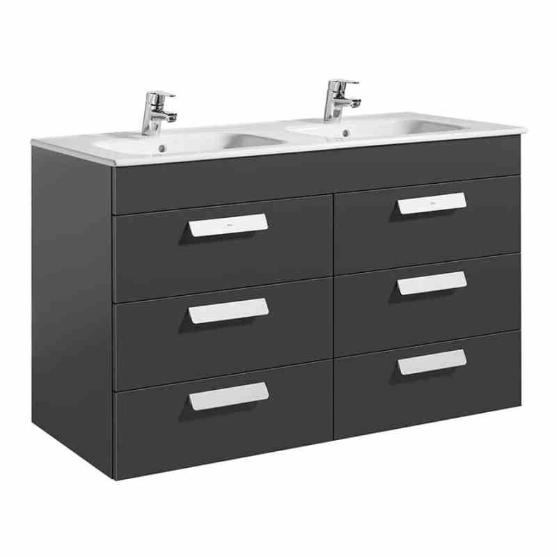 Roca Debba Wall Hung 3 Drawer Basin Unit 120cm Anthracite Grey