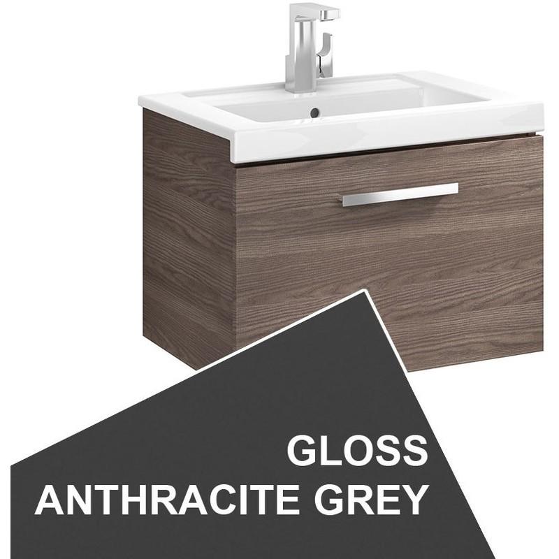 Roca Prisma Wall Hung 1 Drawer Basin Unit 60cm Anthracite Grey