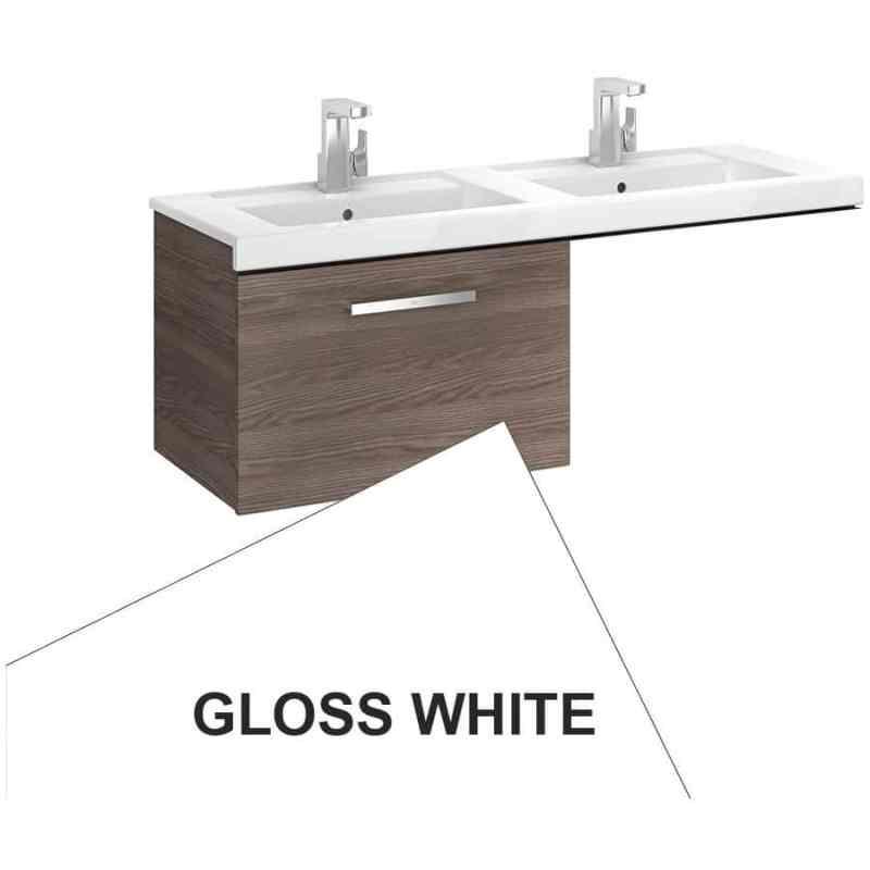 Roca Prisma 1 Drawer Wall Basin Unit 59cm LH Gloss White