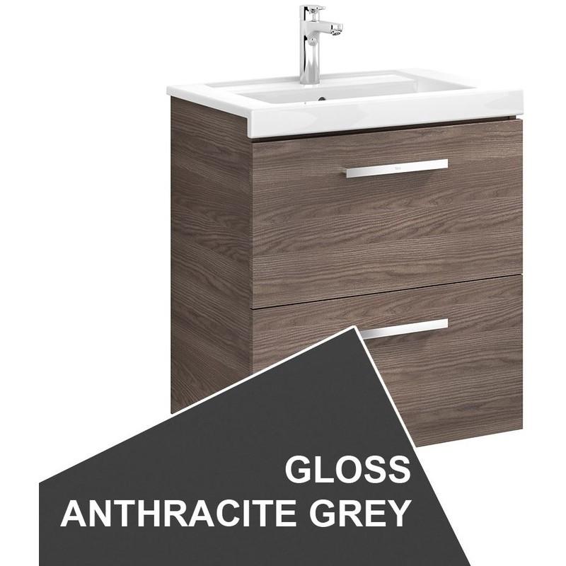 Roca Prisma Wall Hung 2 Drawer Basin Unit 60cm Anthracite Grey