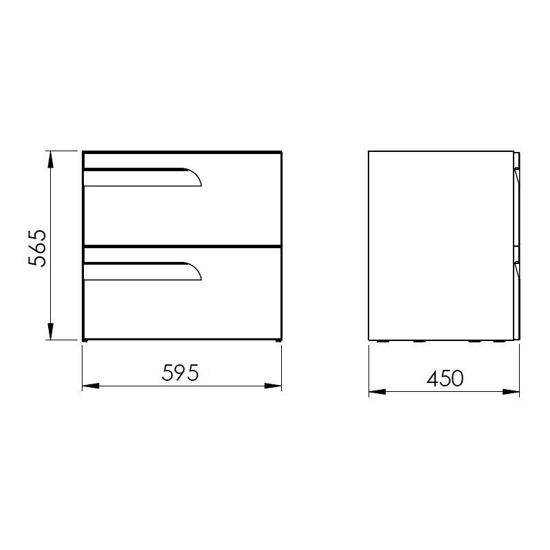 Royo Vitale 600mm 2 Drawer Wall Unit Light Oak