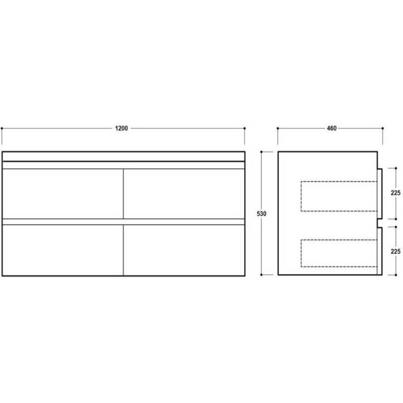 Synergy Linea 1200mm White Double Wall Basin Unit