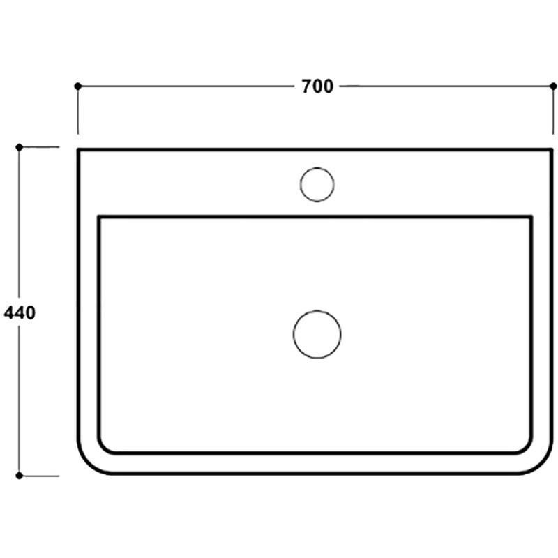 Synergy Henbury 700mm 1 Tap Hole Wash Basin
