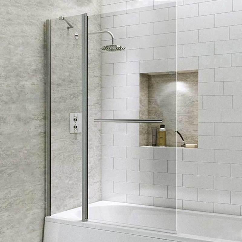 Synergy Vodas 6 Radius Bath Screen with Fixed Panel & Towel Rail