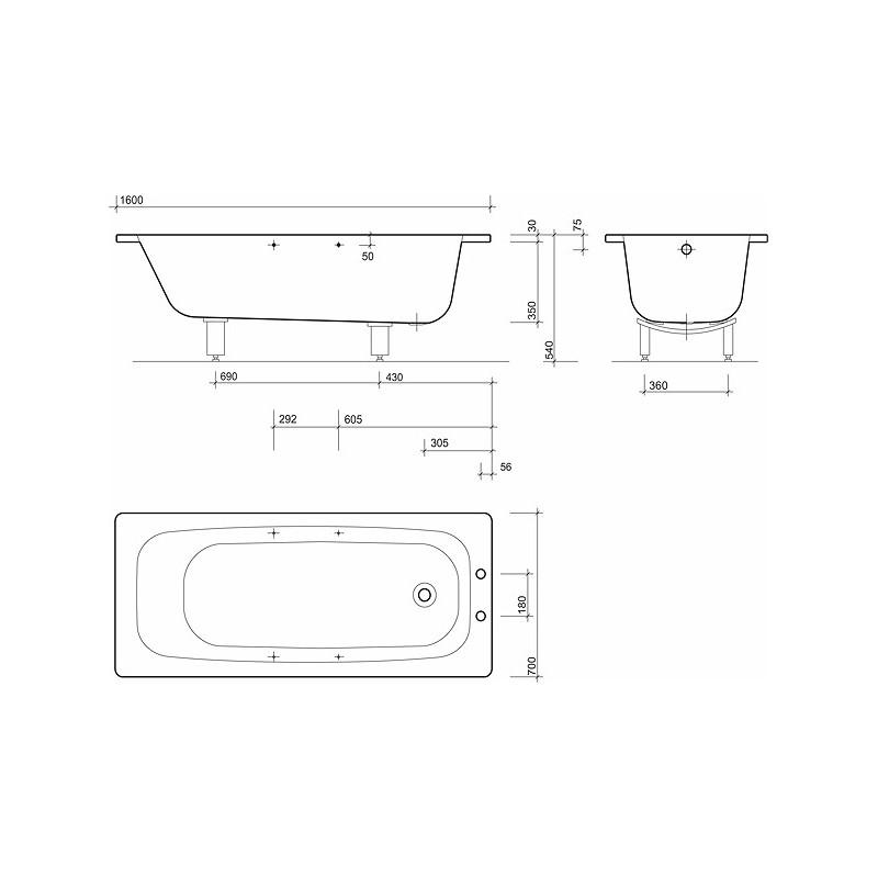 Twyford Celtic Bath 1600x700 2 Tap Plain with Grips & Legs