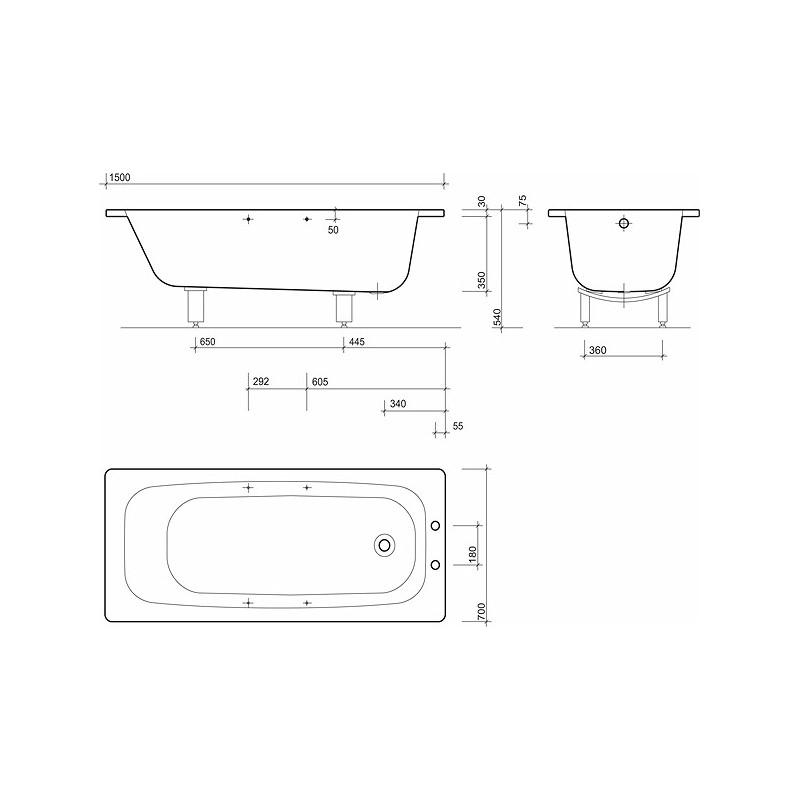 Twyford Celtic Bath 1500x700 2 Tap Plain No Grips & Legs