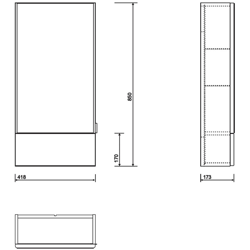 Twyford E100 Mirror Cabinet 500mm White