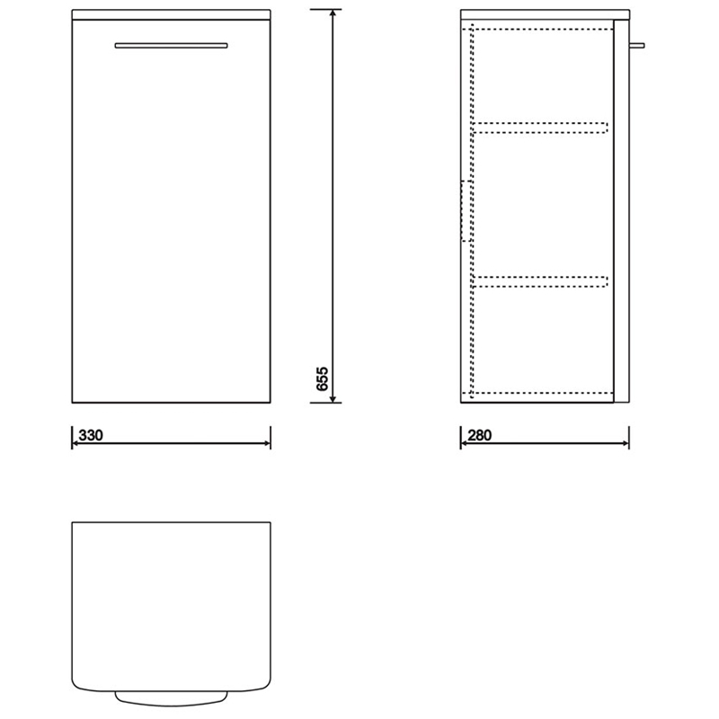 Twyford E100 Side Cabinet Small Grey Ash Wood