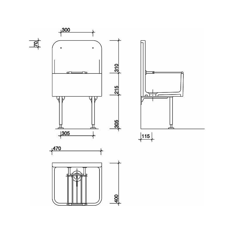Twyford High Back Cleaner Sink 470x405 with Grating