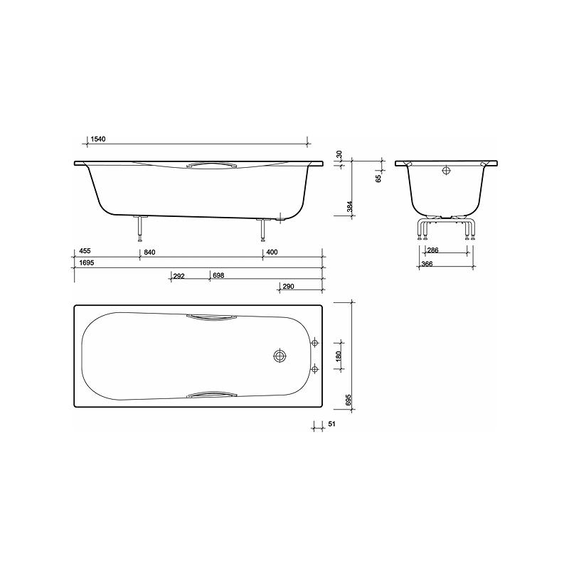 Twyford Neptune Bath 1700x700 2 Tap Plain No Grips