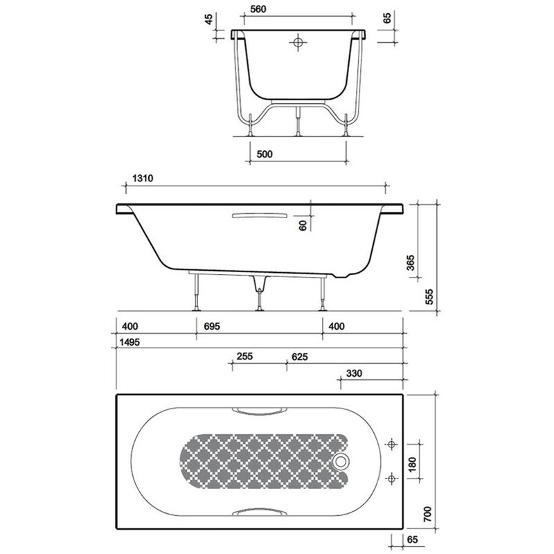 Twyford Opal 1500x700mm Bath No Tap Hole Anti Slip