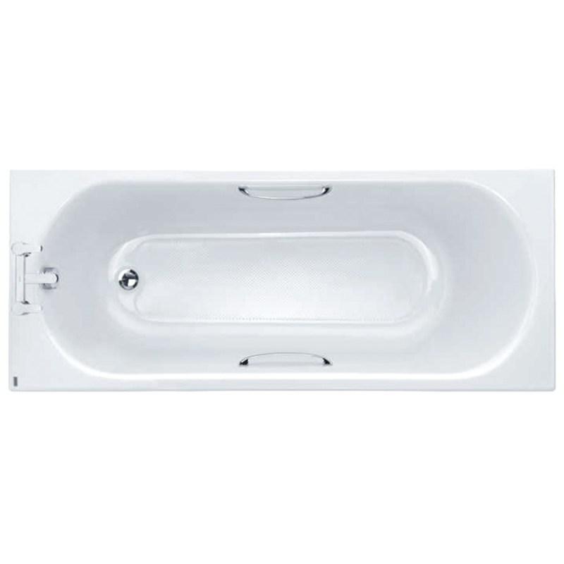 Twyford Opal 1700x700mm Bath 2 Tap Holes Twin Grips Anti Slip