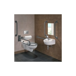 Twyford Doc M Rimless Wall Hung Pack, Left Hand, Grey