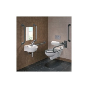 Twyford Doc M Rimless Wall Hung Pack, Right Hand, Grey