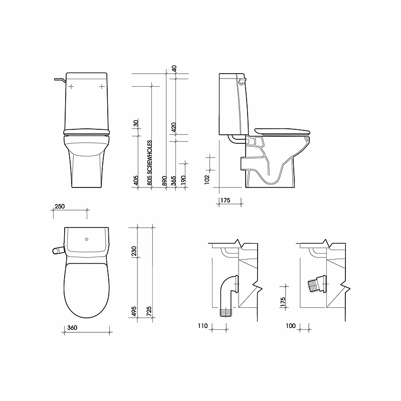Twyford Sola Rimless Close Coupled Toilet Pan