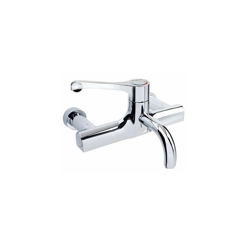 Twyford Sola Thermostatic Surgeons Wall Mixer Lever Tap, Detachable Spout