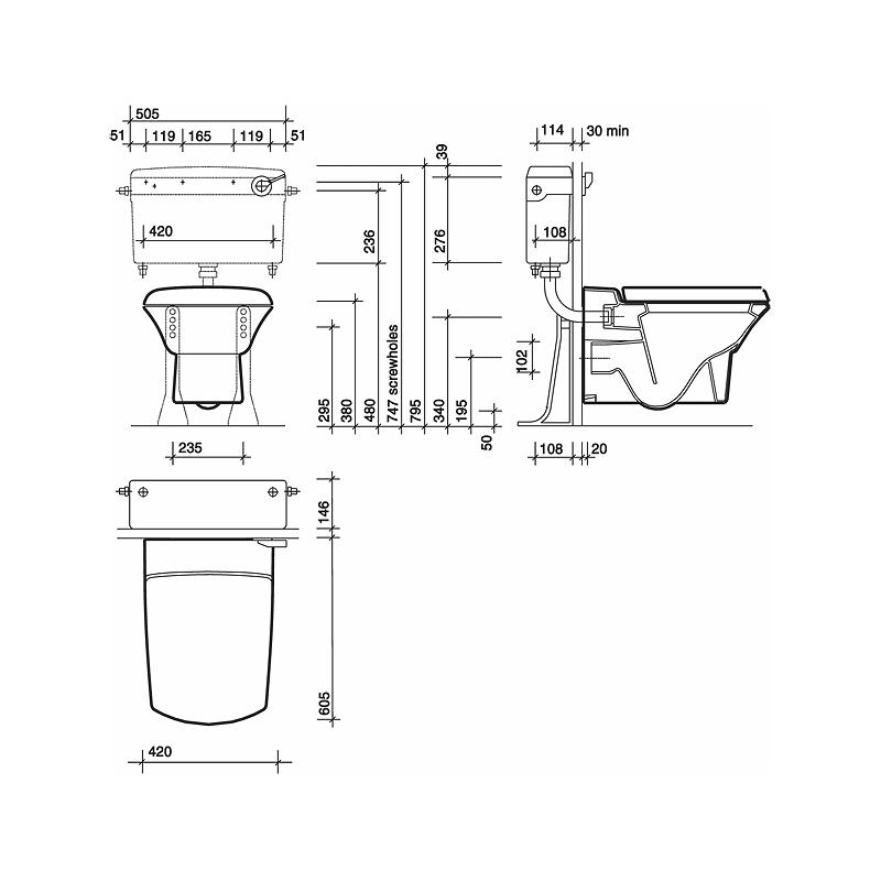 Twyford Wall Hung Toilet/Bidet Bracket & Bolts Assembly