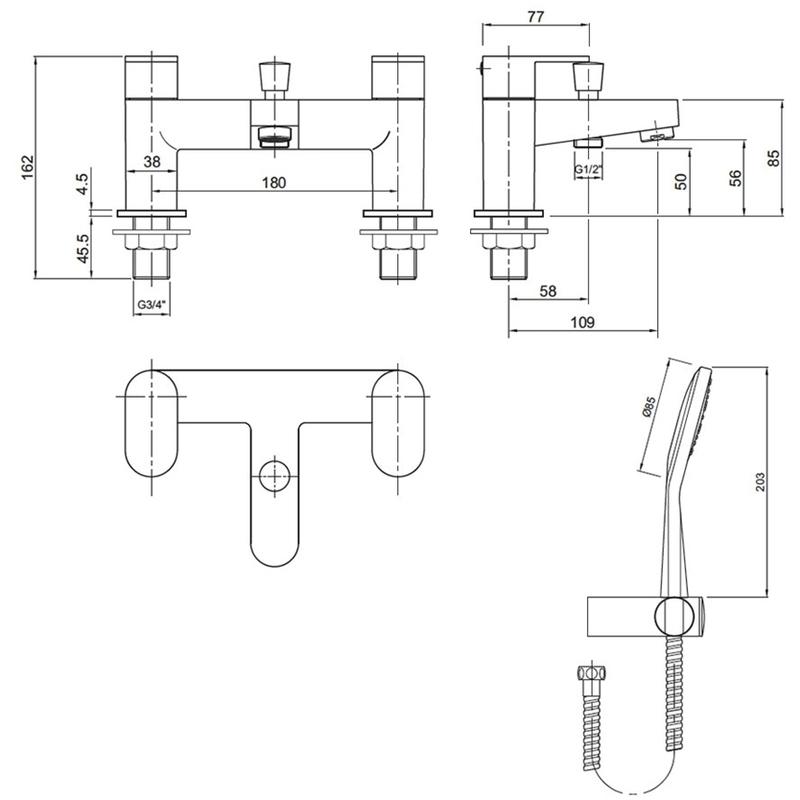 Twyford X70 Deck Mounted Bath Shower Mixer